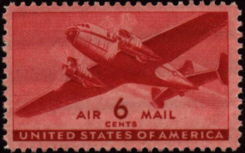 Image Of Transport Airmail Stamp C25 This The 6 Cent