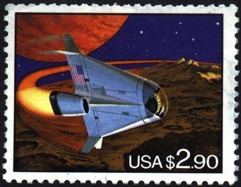 Image or picture futuristic space shuttle on US postage stamp