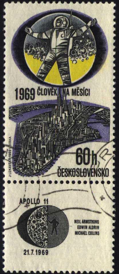 Image of 1969 Moon Landing airmail stamp, C75